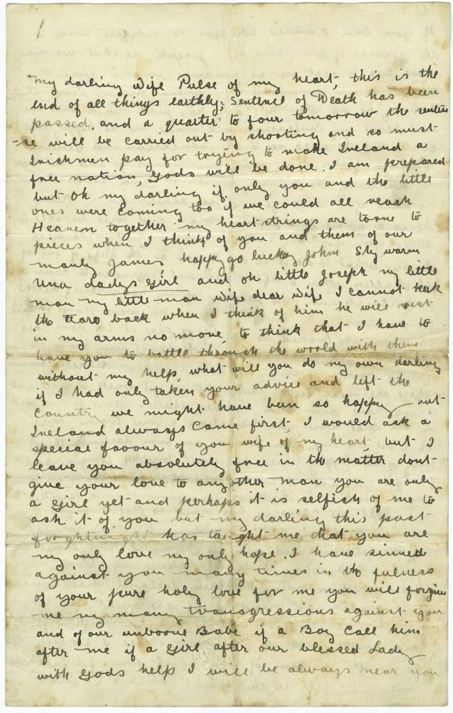 2012.0086.01 last letter of Michael Mallin to his family, p.1 side 1