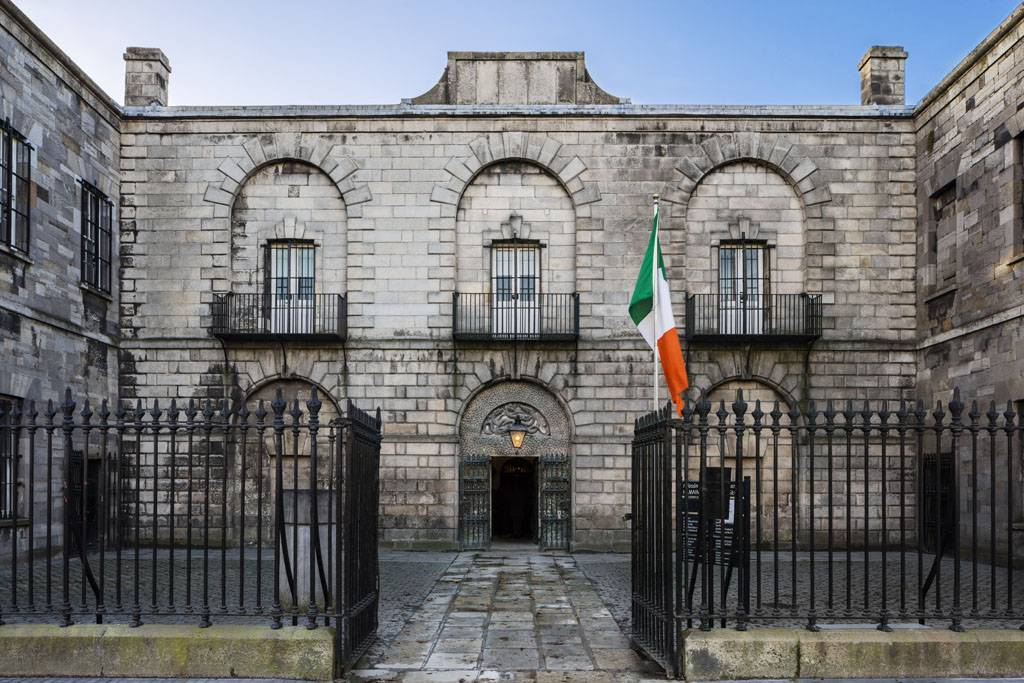 Façade of Kilmainham Gaol with tricolour. Peter Moloney Photography.