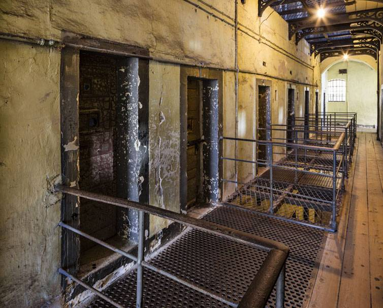 1916 corridor showing Countess Markiecivz's cell on left. Peter Moloney Photography.