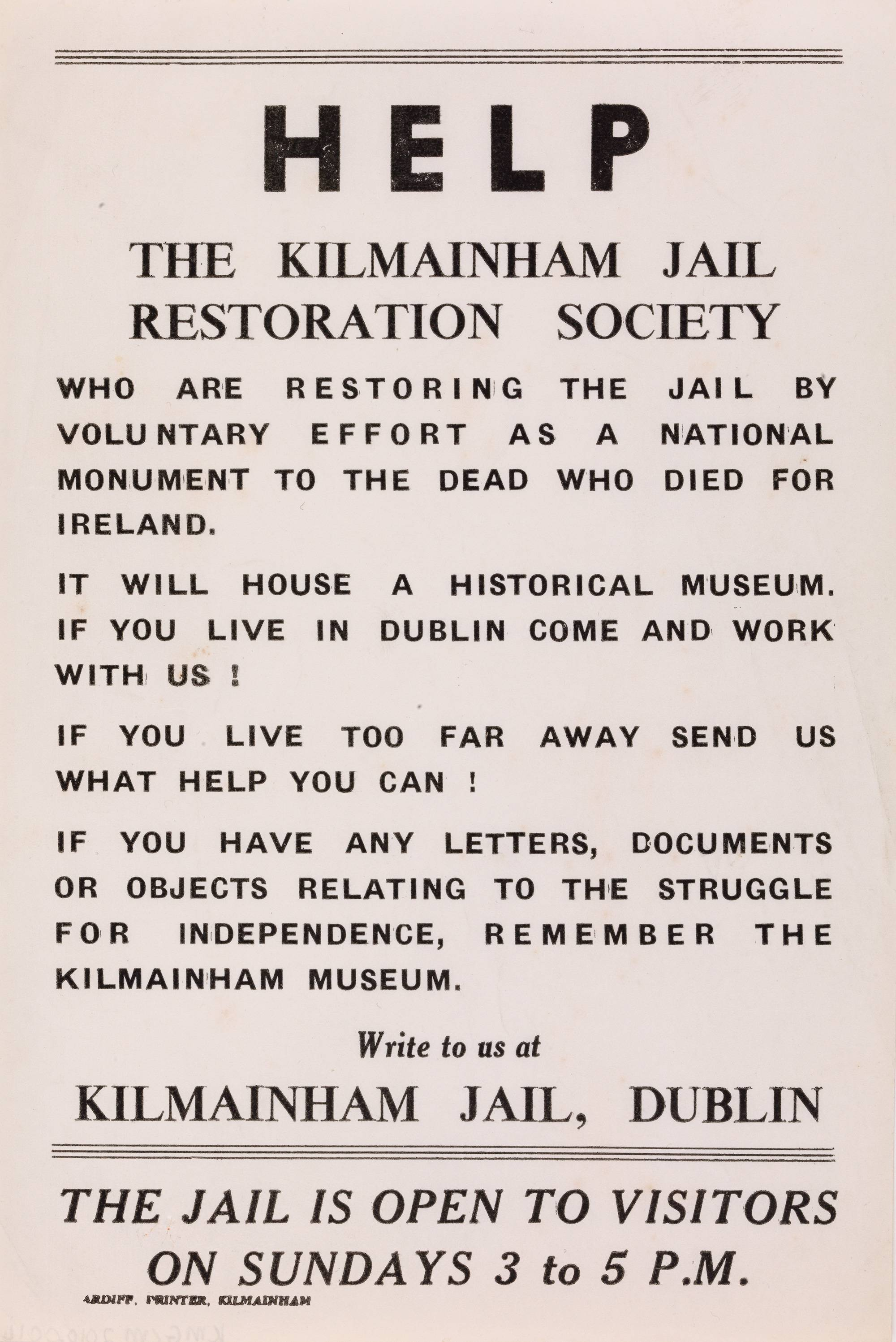 A small poster entitled: 'Help the Kilmainham Jail Restoration Society'. OPW.