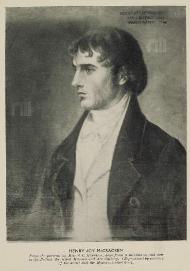 Henry Joy McCracken, from the portrait by Miss S.C. Harrison. Relief halftone. National Library of Ireland.